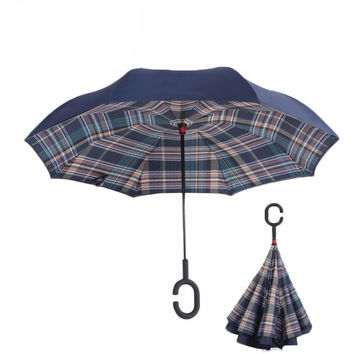 Plaid Reverse Double Layer Inverted Umbrella