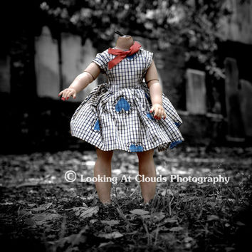 creepy doll - - old doll no head in a cemetery - fine art photo 8 x 10 - color and b&w - tombstones - decapitated cutie