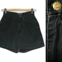 Vintage Shorts~Size Extra Small~Waist 24~70s 80s 90s High Waisted Black Grey Cuffed Denim Jean Shorts~By Copper Key