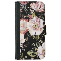 shabby chic preppy girly vintage black floral iPhone 6 Wallet Case