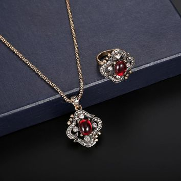 Women Zircon Retro Necklace Earrings Ring Wedding Party Bridal Jewelry - Free Shipping