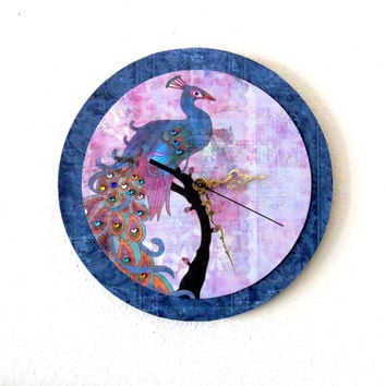 Wall Clock, Peacock Decor, Unique Gift, Decor and Housewares, Home and Living, Home Decor, Wall Decor, Unique Clock, trending