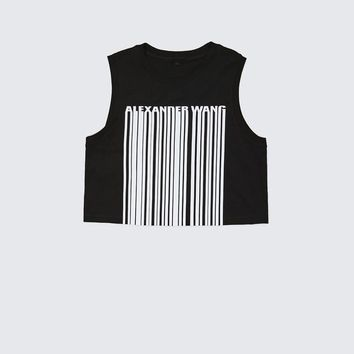 Alexander Wang EXCLUSIVE CREWNECK CROP TOP WITH BONDED BARCODE TANK | Official Site