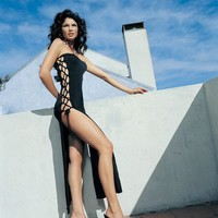Slinky Long Tube Dress with Lace Up Sides, Leg Avenue, Angel Bodywear