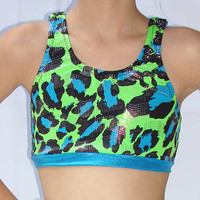 2 Strap Crossover Sports Bra Dance Top- Fully Lined, Your Choice of Fabric.