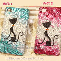 iPhone 4 Case, iPhone 4s Case, iPhone 5 Case, bling iphone 4 case, iphone 5 bling case, cute iphone 4 case, gradient iphone 4 case cat