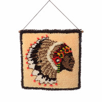 Vintage 70s Indian Chief Head Shag Rug Wall Hanging 1970s Tribal Latch Hook Yarn Wall Southwestern Kitsch MCM Home Hippie Decor