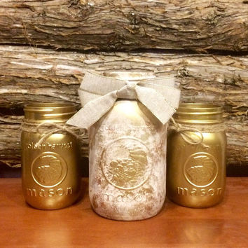 Vintage Gold Mason Jar, Gold Wedding Mason Jar, Rustic Mason Jar Centerpiece, Ivory Marble Mason Jar, Rustic Wedding Decor, 50th Anniversary