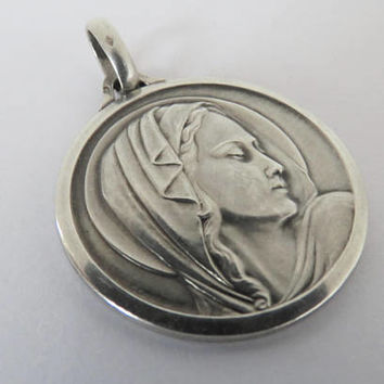 Vintage French, Hallmarked Silver, Virgin Mary, Pendant, Medal, Contaux