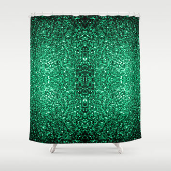 Beautiful Emerald Green glitter sparkles Shower Curtain by PLdesign