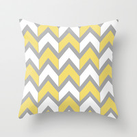 Mustard Chevron Throw Pillow by Beth Thompson