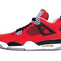 Mens Nike Air Jordan Retro 4 TORO BRAVO Basketball Shoes Fire Red/White/Black/Cement Grey 308497-603 Size 9.5