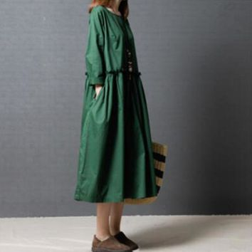 2018 Spring New Women Dress Vintage Loose Solid Color O-neck Long Sleeve Maxi Long Bottoming Dresses Female Robes Vestidos