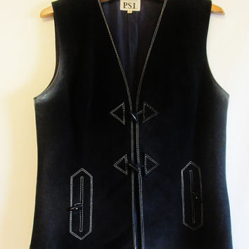 Vintage Navy Suede Toggle Vest