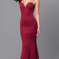 Long Prom Dress with Sweetheart Deep V-Neckline