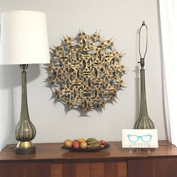Mid Century Modern Brutalist Wall Art, Large Round Metal Art Wall Decor, Sunburst Sculpture