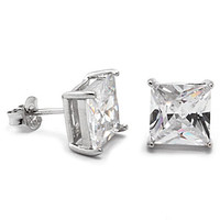 Princess Cut CZ .925 Sterling Silver Earrings