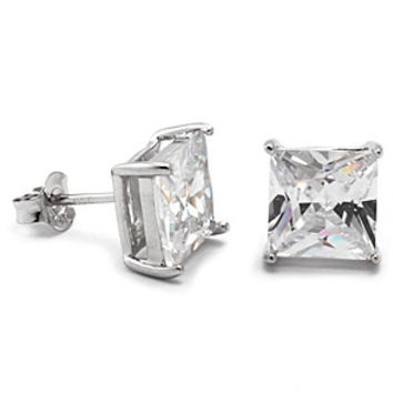 King Ice Princess Cut CZ925 Sterling Silver Earrings