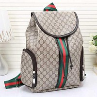 Gucci Fashion Letter Stripe Print Leather Bookbag Shoulder Bag Handbag Backpack Brown I