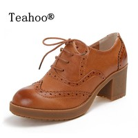 High Heels Oxford Shoes For Women Autumn Thick Heel Women Pumps Shoes Brogues Oxford W