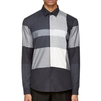 Burberry London Grey Flannel Check Button-up Shirt