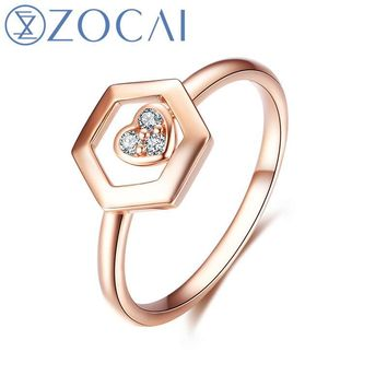 ZOCAI Brand Ring The Honeycomb Series Real 0.03 CT Diamond Ring 18K Rose Gold (Au750) JBW90229T