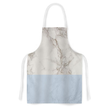 "Suzanne Carter ""Marble And Blue Block"" Modern Gray Artistic Apron"