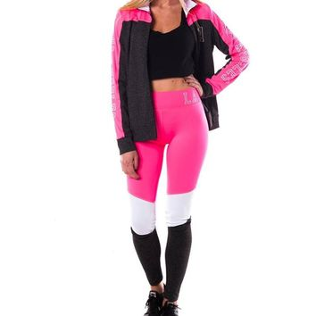 2 Pcs Zip-Up Jacket & Leggings - Pink/White