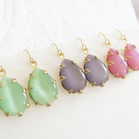 Mint Green, Lavender Purple, Rose Pink Vintage Moonstone Teardrop Dangle Earrings Gold Crown Settings - Bridesmaid, Wedding, Bridal, Pastels