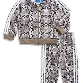 Infant Girl's adidas 'Firebird' Print Track Suit