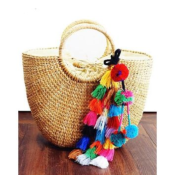 Bali Straw Tote with Colorful Tassels