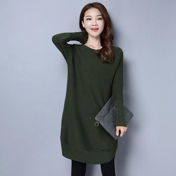 Autumn Starry Palette Medium Style Side Slit Jumper Jacquard Weave Round Neck Solid Color Women Pullover Knitted Sweater