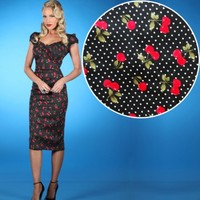Stop Staring! Cherry Drop Wiggle Pin Up Dress