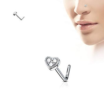 WildKlass 3 CZ Paved Heart 316L Surgical Steel L Bend Nose Stud Rings