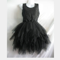 Little Black Dress Lace Dress Party Prom Dress - Sweet Girl Cocktail Dress Hippie Short Dress
