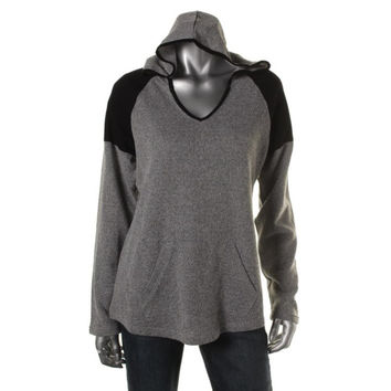 Style & Co. Womens Marled V-Neck Hoodie