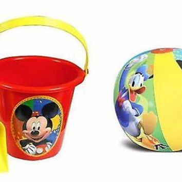 """Mickey Mouse Sand Bucket Pail and Sand Shovel + 20"""" Inflatable Beach Ball Set"""