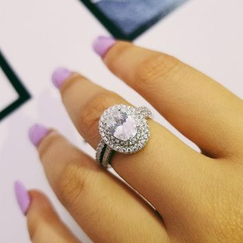 fashion 925 sterling silver OVAL Rings for women wedding engagement Luxury rings sets band ring Jewelry for bridal bride  R4410S