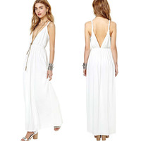 White  Deep V-Neck Backless  Chiffon Maxi Dress