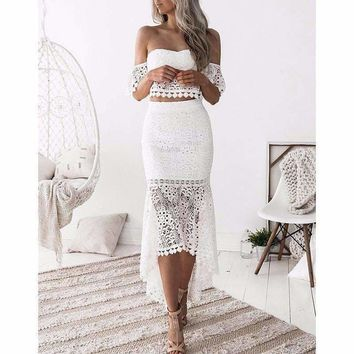 two piece set off shoulder lace crop tops mermaid skirt suit  ankle length skirts ruffle skirt Elegant top suits