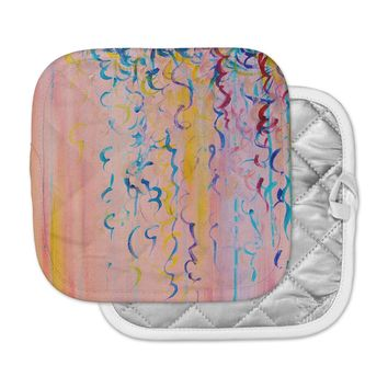"""Ebi Emporium """"Cotton Candy Whispers"""" Pink Painting Pot Holder"""
