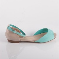 Colorblock Open Toe Flats with Ankle Strap - Mint at Lucky 21 Lucky 21
