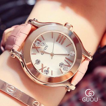 GUOU Women Watch Top Luxury Rhinestone Glitter Wrist Watches Women Fashion Leather Diamond Ladies Quartz Watch relogio feminino