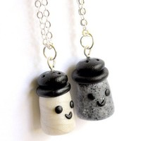 Handmade Salt and Pepper Best Friend Necklaces