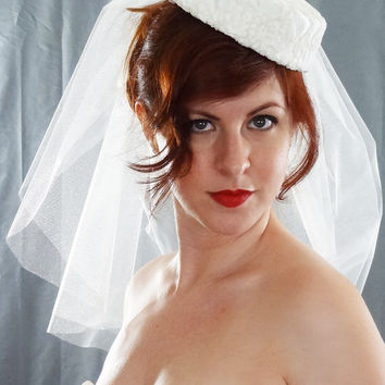 """Audrey"" Wedding Hat and Veil"