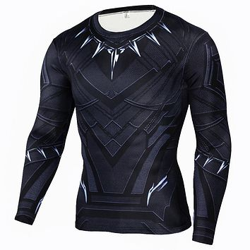 Men's Black Panther Compression Shirt Long Sleeve T-shirt Men The Flash Print Fitness Top Base Layer Brand Clothing
