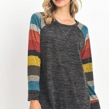 ABIGAIL Marled Striped Long Sleeves in Charcoal