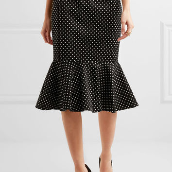 Dolce & Gabbana - Ruffled polka-dot cotton-blend gabardine skirt