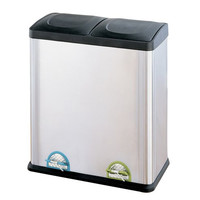 Organize It All Recycling Bin - 15.85 Gallon Step-On Stainless Steel Trash Can - 60 Liters Recycling Can