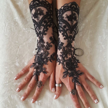 Lace gloves black few melange prom party celebration wedding cocktail